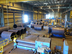 Overview of the shop fabricating piling